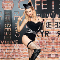 2019 New Hot Sexy Black Cat Women Costume Set Teddy Lingerie Bodysuit Disfraz Gatubela Catsuit Underwear Role Play