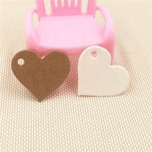 100 шт 2,5*2,8 см белые и коричневые милые изысканные ювелирные изделия в форме сердца/ожерелья бирка на свадьбу/день рождения коробки для конфет ценники