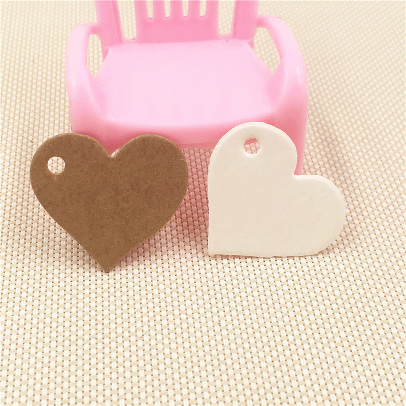 100pcs 2.5*2.8cm White&Brown Cute Heart-Shape Exquisite Jewelry/Necklace Hang Tag Wedding/Birthday Party Candy Boxes Price Tags