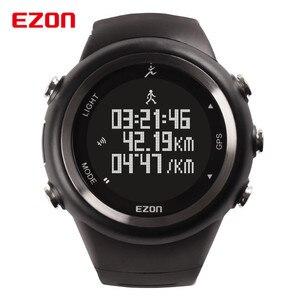 Спортивные часы EZON с GPS для бега на открытом воздухе, 5ATM водонепроницаемые часы с шагомером, счетчик калорий, цифровые мужские и женские воен...