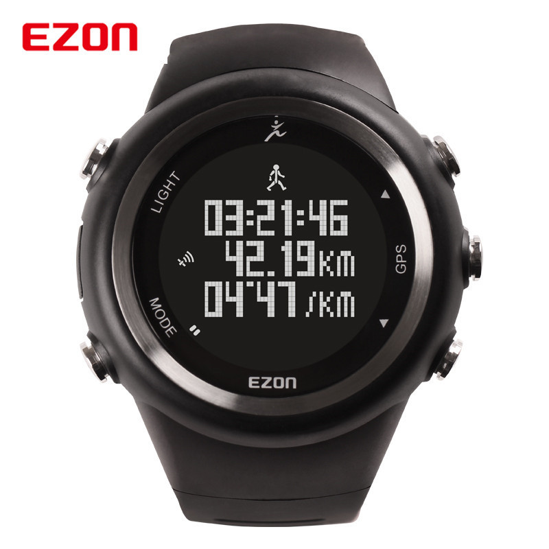 EZON GPS Outdoor Running Sport Watch 5ATM Waterproof Pedometer Calorie Counter Digital Men Women Military Wrist Watch 2017 Saat ezon outdoor sports for smart gps watches running male multifunctional 5atm waterproof electronic watch g1 black