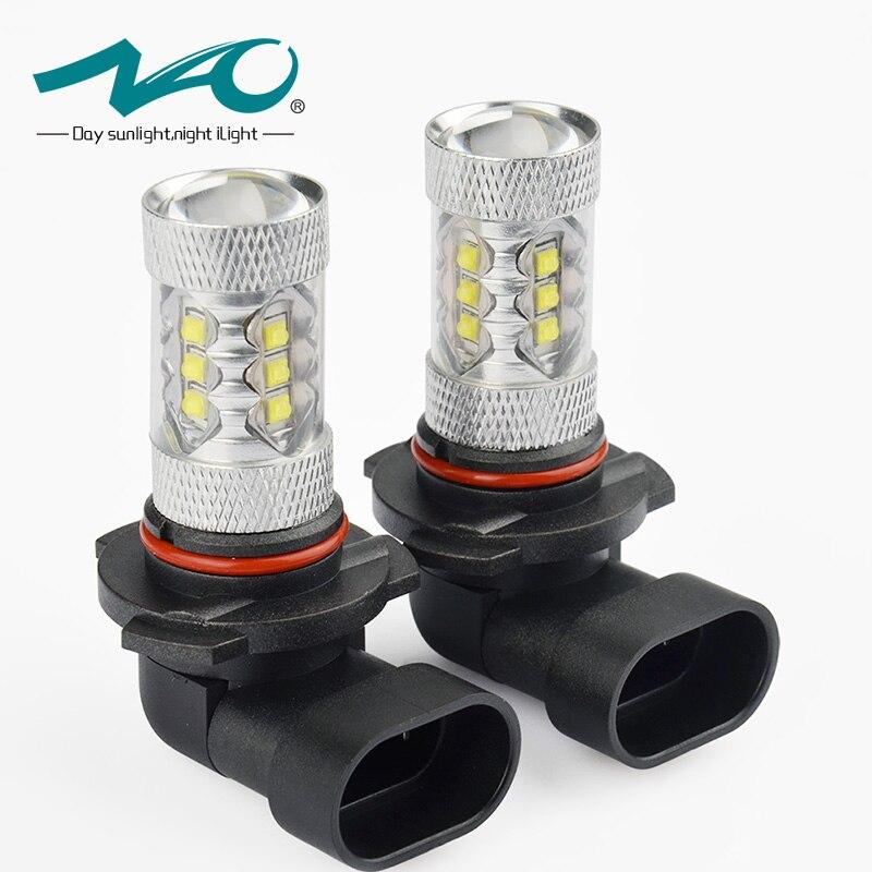 NAO led H11 niebla H8 12 V 9005 HB3 DRL 1600lm luz del coche LED 9006 HB4 H10 H9 80 w bulbo Auto 16 CREE Chip 6000 K blanco