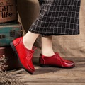 Woman Handmade Shoes Genuine Leather Flat Lacing Mother Shoes Ladies Loafers Soft Casual Shoes