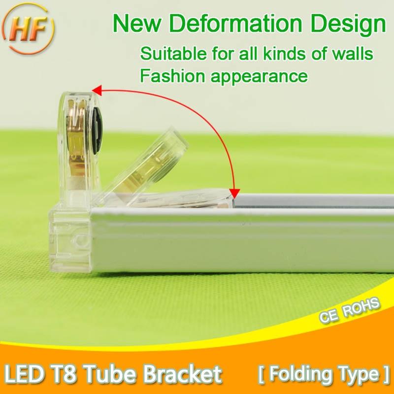 Folding Type T8 LED Tube Fixtures Bracket For 2Ft 60cm 600mm Fluorescent Lamp Tube Light /Support/Base/Holder 1200mm 120cm 4Ft t8 led tube 1200mm light 18w120cm 4ft 1 2m g13 with holder fixture high power smd2835 fluorescent replacement 85 265v