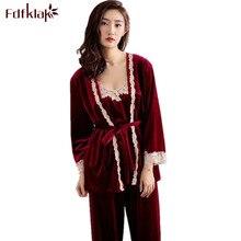 Fdfklak 3 Pieces Ladies Pajamas 2017 Spring Autumn Gold Velvet Pyjama Sexy Woman Pijamas Sleepwear Pajamas Set Home Clothes Q549