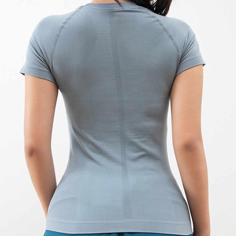 Lato nowy Sport topy Fitness kobiety list joga Top Gym szybkie suszenie treningowe z krótkim rękawem topy elastyczna koszulka do biegania odzież sportowa
