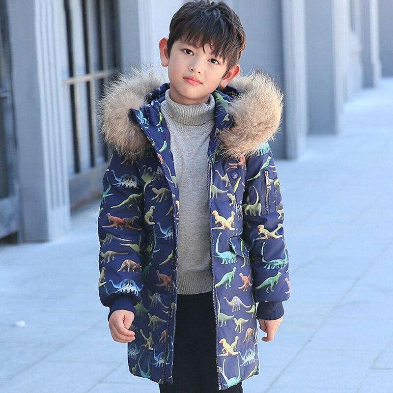 Garçons doudoune nouveau canard blanc vers le bas de la mode dinosaure imprimé enfants vers le bas manteau enfants Parkas à capuche garçon vêtements - 2
