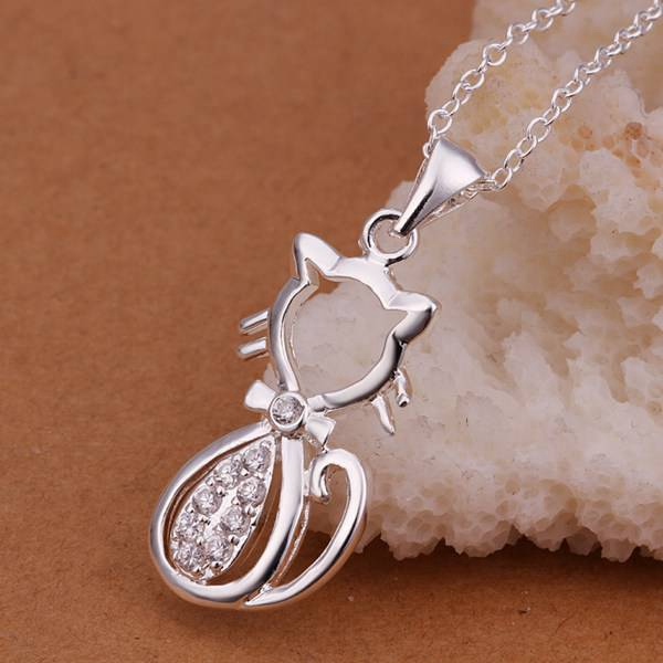 Fine silver plated necklace fashion jewelry chain. cat necklaces & pendants