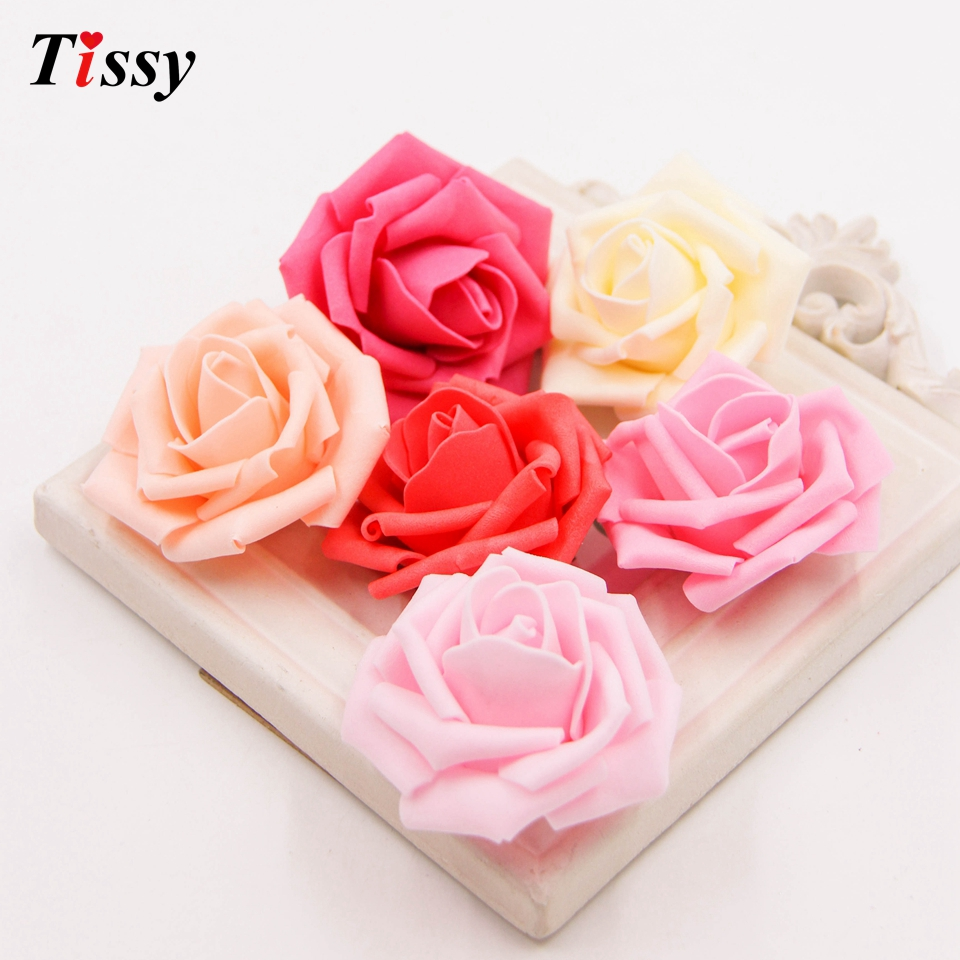 √100pcs Artificial Foam Roses For Home And Wedding Decoration ...