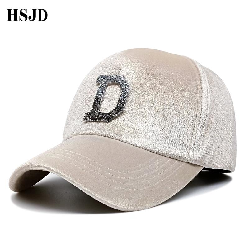 Unisex Velvet Glitter Snapback Hats Rhinestone D letter   Baseball     Cap   For Men and Women 2018 Winter Female Shiny Gorras Bone   Caps
