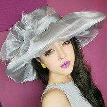 Woman Summer Hats Wide Brim Foldable Flower Double-deck Sun Hat Church Wedding Kentucky Sea Beach Hats ZZ8D01