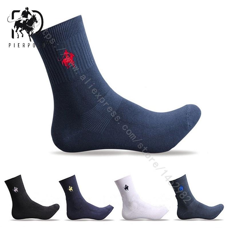 Fashion Brand PIER POLO Socks Man Casual Colorful Pure Cotton Socks Male Crew Business Dress Socks For Men (5Pairs/lot)