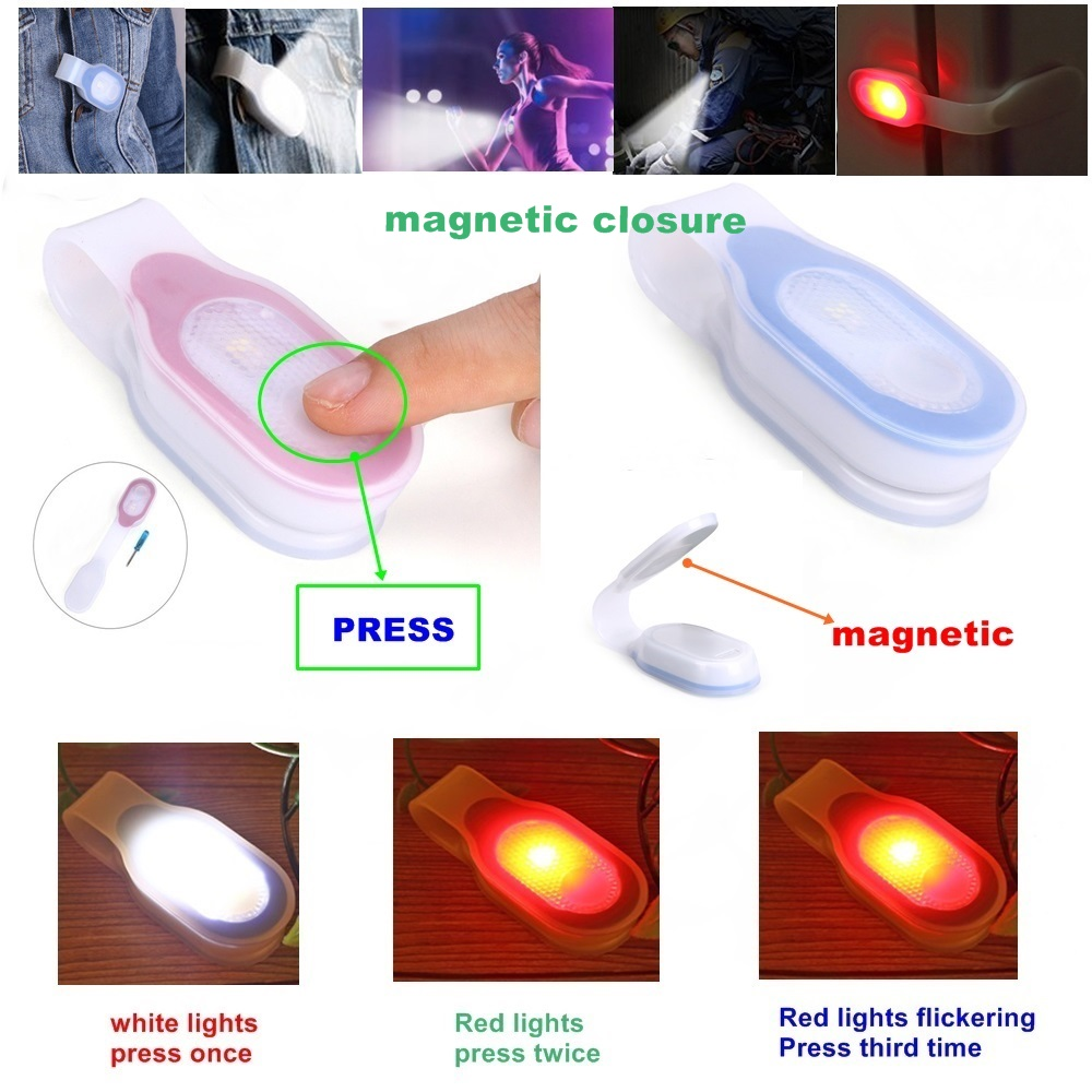 Alonefire LED Flashlight Emergency Light Clip Onto Clothes Or Magnetic Surfaces For Hiking, Dog Walking Or Running PL200