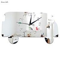 2017 neue Ankunft 45x25 cm Minibus Spiegel Silber Wanduhr Modernes Design Wohnkultur Uhr Wandaufkleber Dropshipping & großhandel