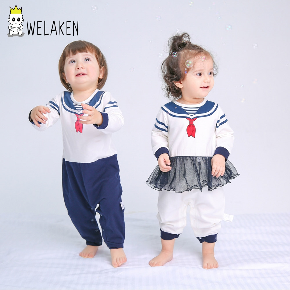 weLaken Autumn Cute Baby Rompers Brother Sister Matching Clothes 2017 New Navy Style Infant Jumpsuit Baby Boys Girls Romper puseky 2017 infant romper baby boys girls jumpsuit newborn bebe clothing hooded toddler baby clothes cute panda romper costumes