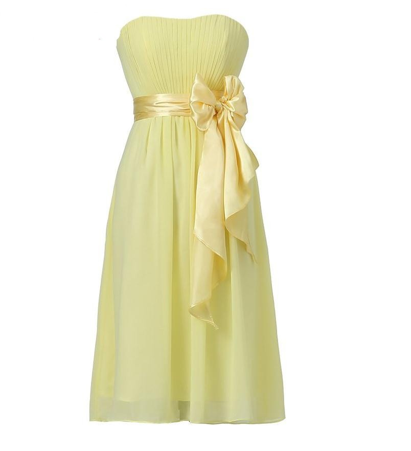 Chiffon Knee Length Short Bridesmaid Dress