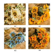 45cm Artificial Sunflower Flower Bunch Spring Decoration Simulation Fake Plant Plastic Wedding Party Garden Home Ornament