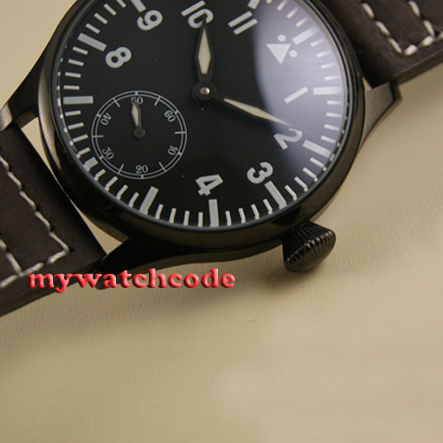 купить 44mm parnis black dial PVD case blue luminous 6498 hand winding mens watch P502 по цене 6103.46 рублей