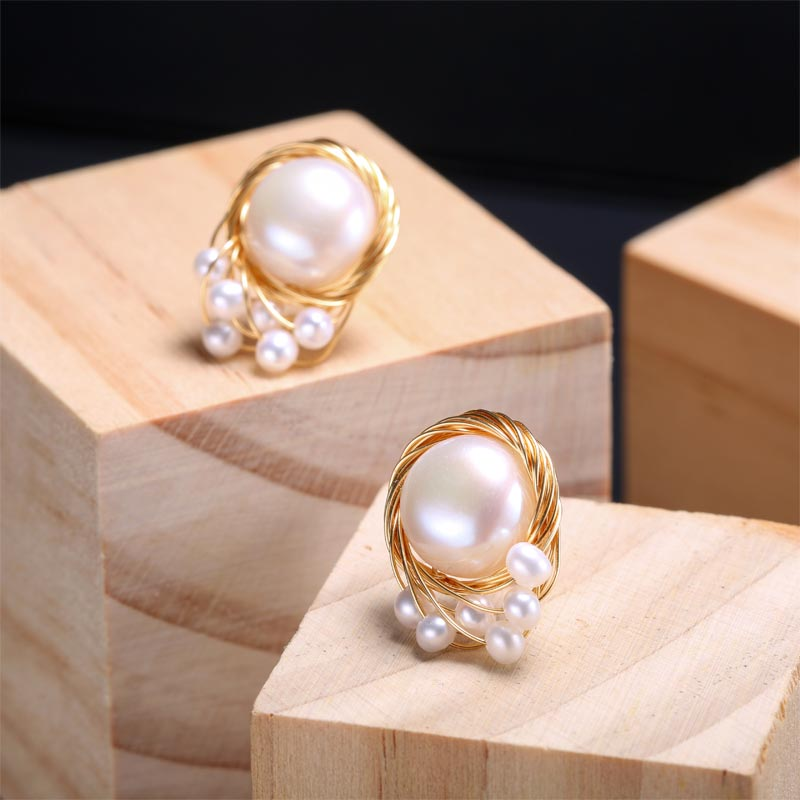 DAIMI Women Pearl Jewelry Designs Yellow Gold Earrings 13-14mm White Pearl Large Earrings Studs Gift For Christmas