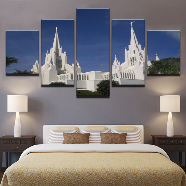 US $5 93 40% OFF|Canvas Pictures Home Decor Wall Art 5 Pieces Mormon Temple  Paintings Living Room HD Prints Church Jesus Christ Poster Framework-in