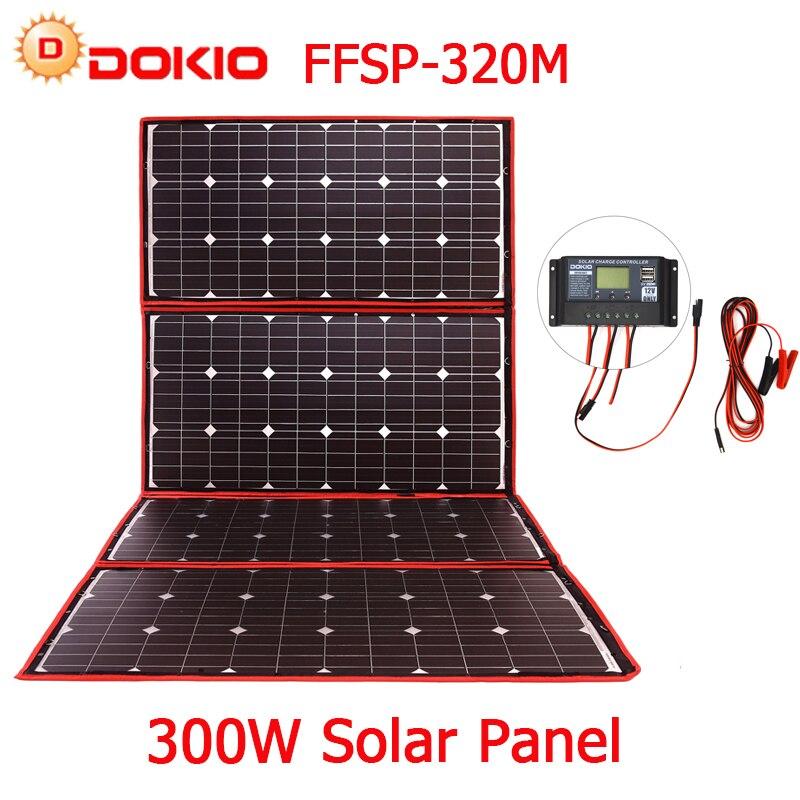 Dokio 300 w 18 v Flessibile Pannello Solare Pieghevole di Qualità Hiqh Portatile Pannello Solare Cina Per Il Campeggio/Barca/ RV/Viaggi/Home/Auto