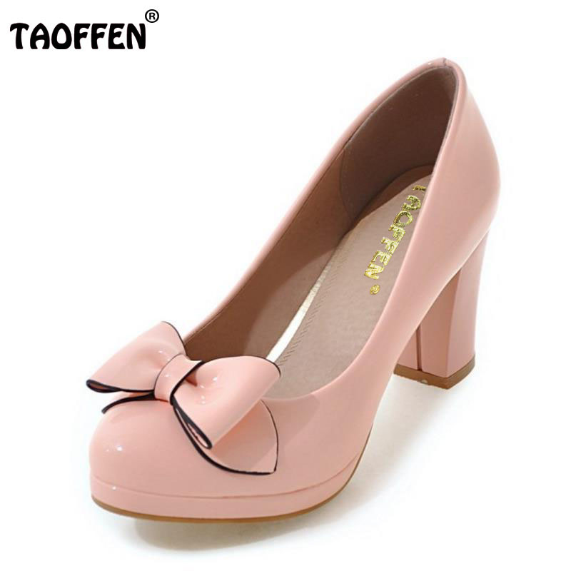 TAOFFEN Size 31-43 Ladies Slip On High Heels Shoes Women Bowknot Thick Heel Pumps Women'S Fashion Platfrom Office Party Footwear taoffen size 32 43 4 color women high heels shoes round toe thick heel pumps fashion platform bowknot party wedding footwear