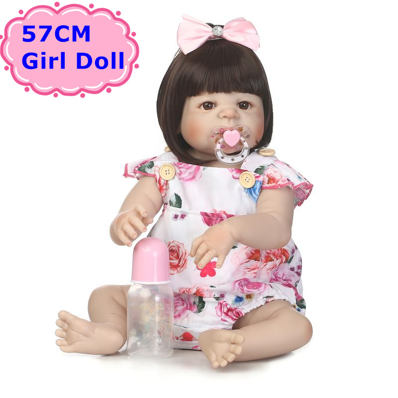 NPK 57CM Adorable Bebe Reborn Boneca Doll Alive Full Silicone Baby Toddler Girl With Soft Hair Kids Toys As Girls Birthday Gift