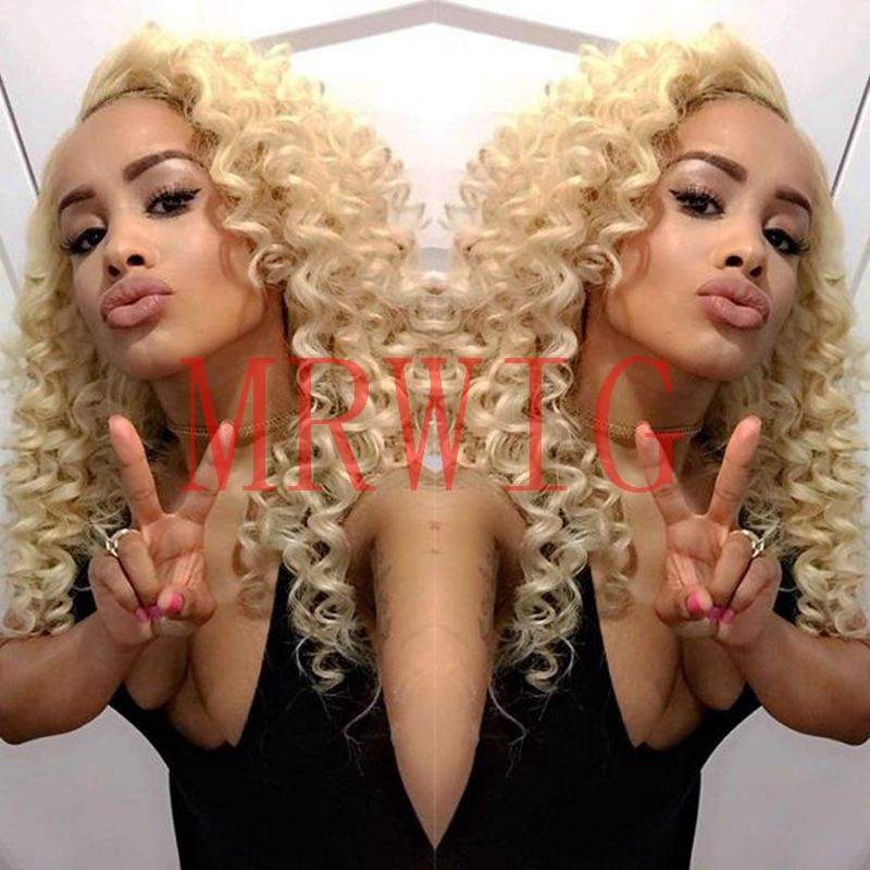 MRWIG kinky curly #613 blonde 22in synthetic front lace wig baby hair heat resistant fiber free part transparent lace