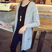 Brand new fashion männer pullover Koreanische männliche mit kapuze dünne beiläufige strickjacke