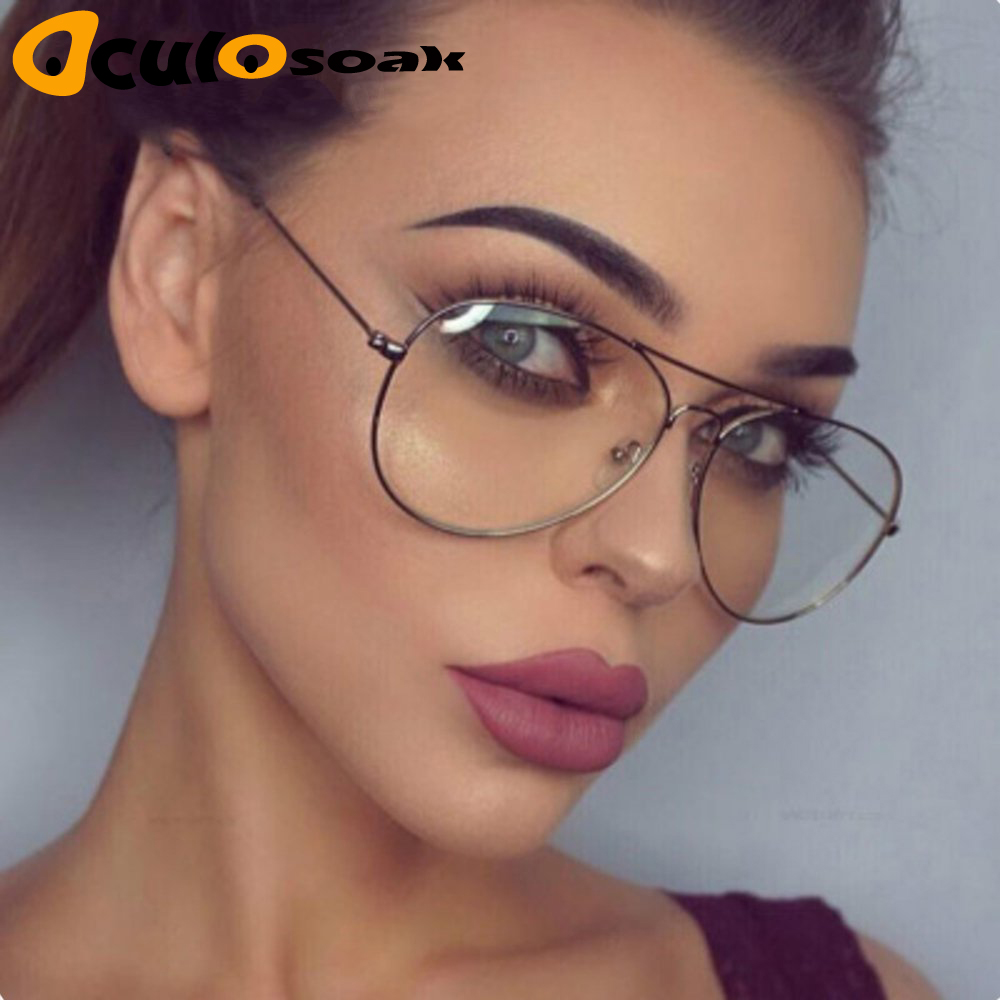 Hot Classic Clear Glasses Gold Frame Vintage Sunglass Women Men Optical Aviation Eyeglasses Transparent Clear Oculos De Grau