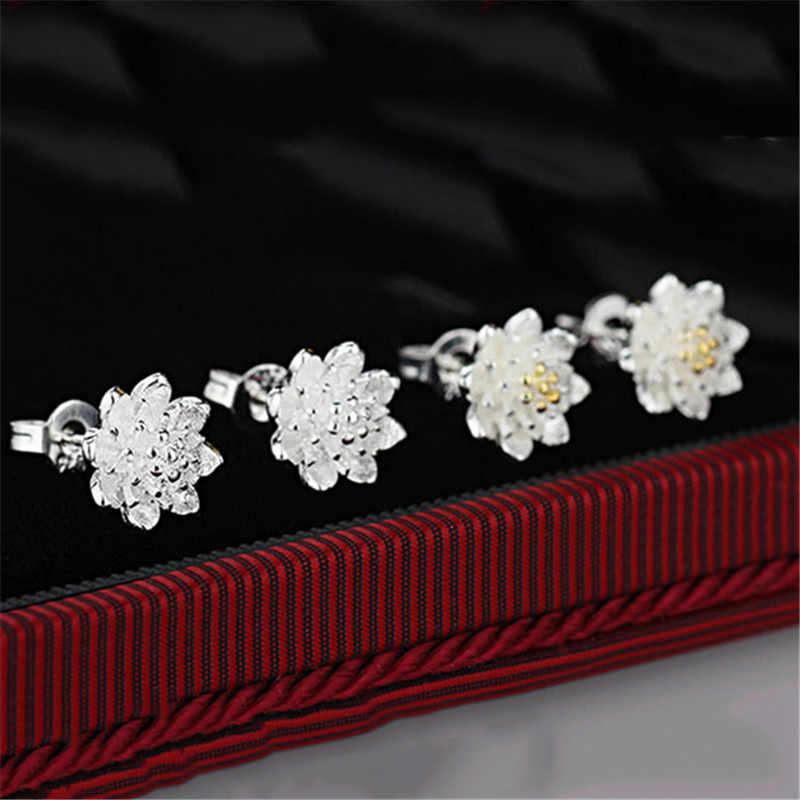 מפעל מחיר זוג אחד לוטוס עגילי אביזרי 925 סטרלינג כסף נשים יפה יוקרה תכשיטי מתנת מכירה לוהטת