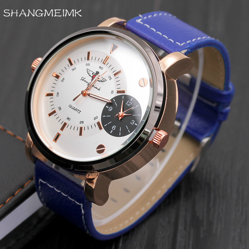 2017 Men's Sport Military Quartz Wristwatch Leather Strap Watch Large Multiple Time Zone Sub Dial Luxury Watches Design Clock