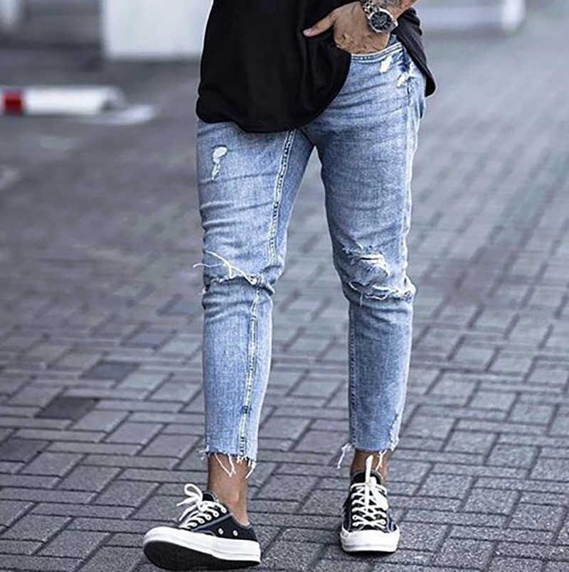 Pantalones Vaqueros Elasticos Suaves Para Hombre Jeans Rasgados 2019 Pantalones Vaqueros Aliexpress