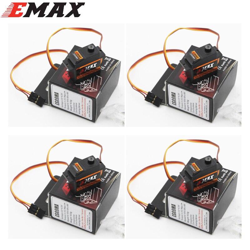 4 unids/lote EMAX ES09MA Metal analógico específicos Swash Servos para 450 helicóptero cola mejor que Emax es08ma ii