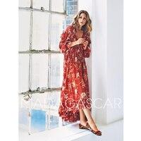 2018 women printed silk dress dress sexy V neck long sleeve casual bohemian beach dress Swallowtail party red