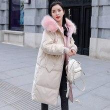 2018 3XL Winter New Korean Coat Arrive Big Fur Collar Hot Sale Jacket Female Long In Stock Loose Pink Gold Velvet