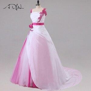 Image 3 - Jiayigong 새로운 도착 웨딩 드레스 민소매 페르시 아플리케 a 라인 tulle과 Taffeta 웨딩 드레스 신부 드레스