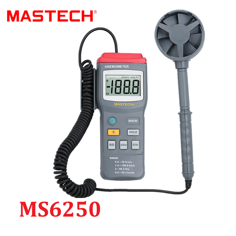 Portable Professional Digital Anemometer Air Wind Speed Flow Meter Meter Tester with Backlight Data Hold MASTECH MS6250  цены