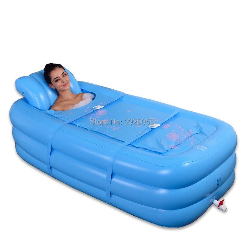 Портативная ПВХ Ванна для взрослых, складная надувная ванна, безопасная и экологически чистая Нетоксичная Толстая Ванна ручной насос