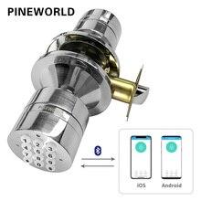 PINEWORLD elektronik dış kapı kilidi, akıllı Bluetooth dijital uygulama tuş takımı kod anahtarsız kapı kilidi, şifre anahtarsız kapı kilidi elektronik