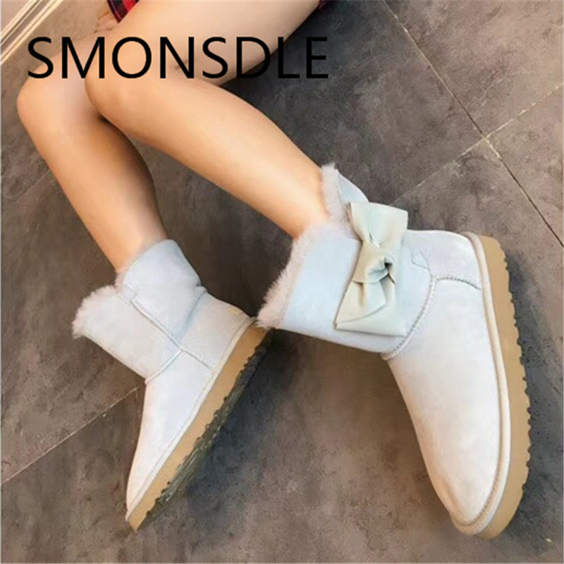 SMONSDLE 2018 New Black Pink Kid Suede Women Ankle Boots Round Toe Butterfly-knot Slip On Women Winter Flat Boots Shoes Woman enmayla new women slip on chelsea boots suede black crystal ladies ankle boots for women round toe med heels shoes woman