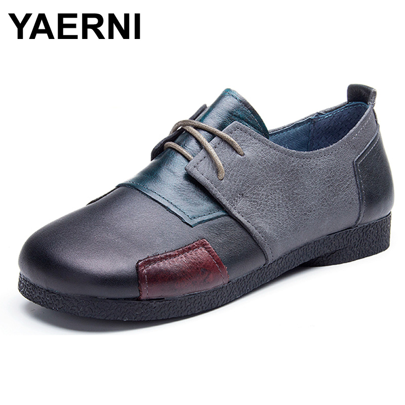 YAERNI Fashion Flats For Women Genuine Leather Shoes Patchwork Women Flats Shoes Moccasins Casual Shoes For Ladies Size 42 43