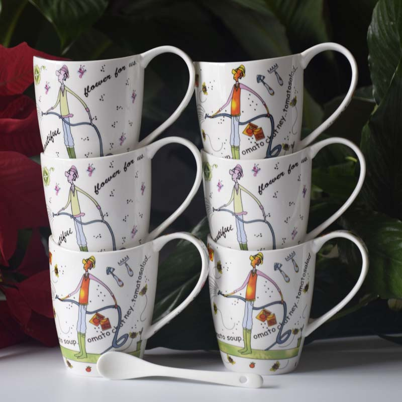 Drinkware Hot sale breakfast coffee mug couple ceramic mug Ceramic creative mug factory wholesale