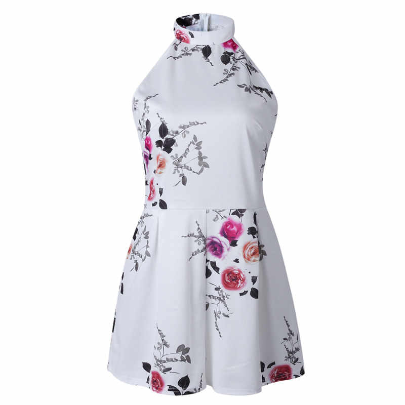 rompers womens jumpsuit shorts summer one piece outfit sleeveless halter casual playsuit floral romper plus size clothing 0850