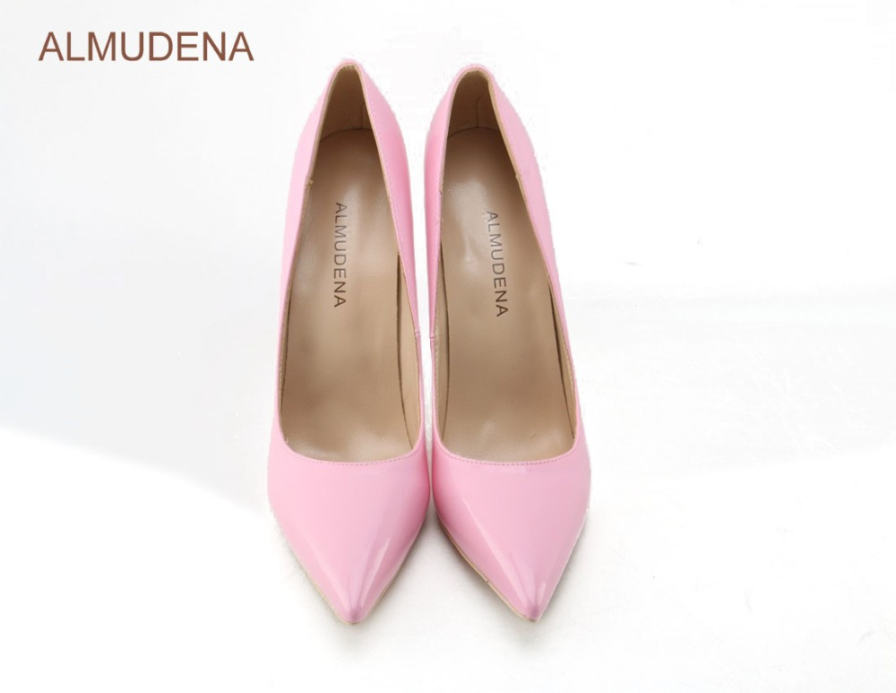 19eaaff7fa9 ALMUDENA Best Selling Girl's Bright Yellow Mirrored Leather Pumps Pointy  Toe Banquet Shoes Celebrity Favorite Candy Color Shoes