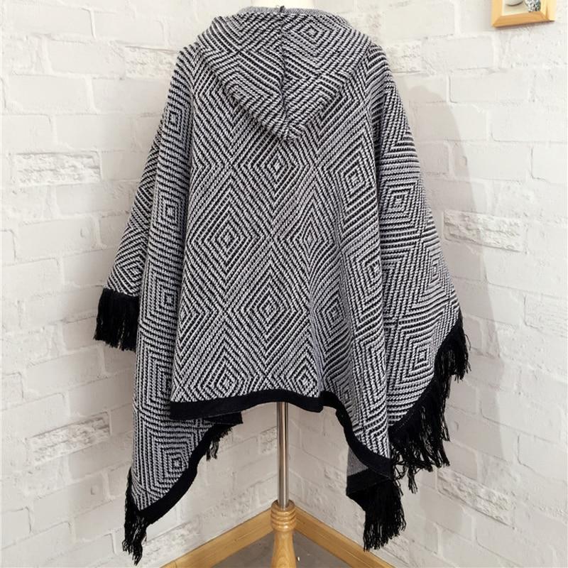 Winter Women Geometry Hooded Poncho Knitted Cardigan Cloak Cape Coat ...