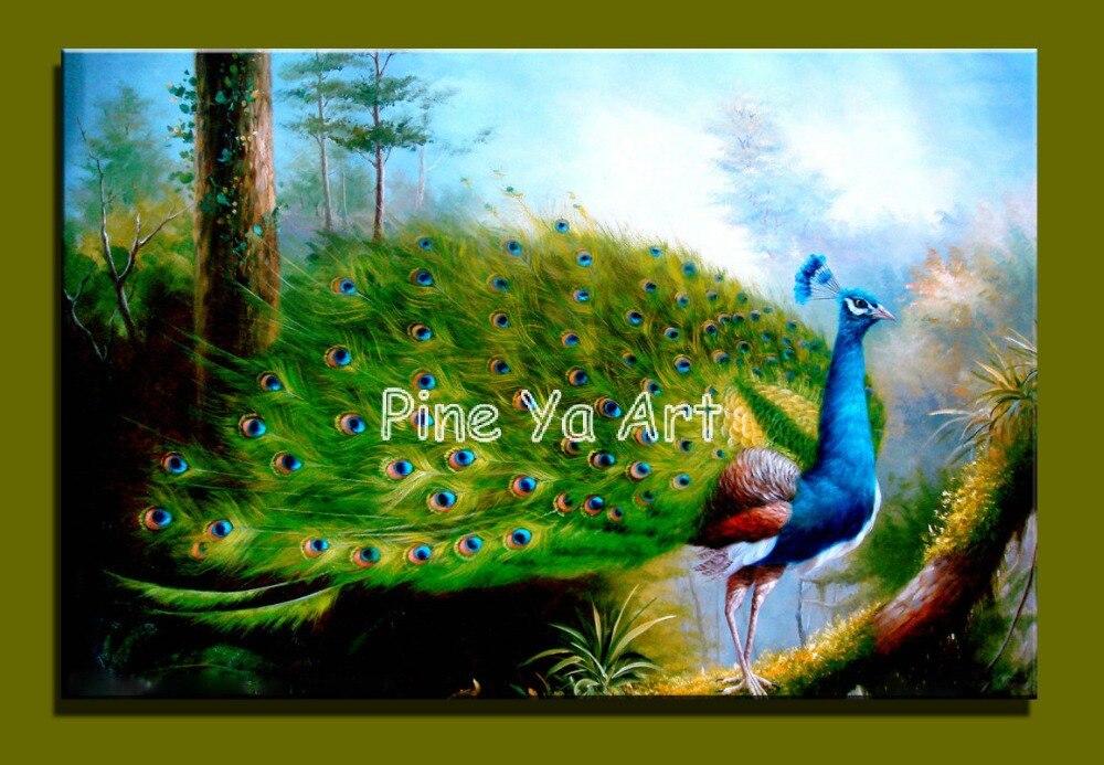 Grote klassieke canvas art decoratieve blauwe pauw deco picture