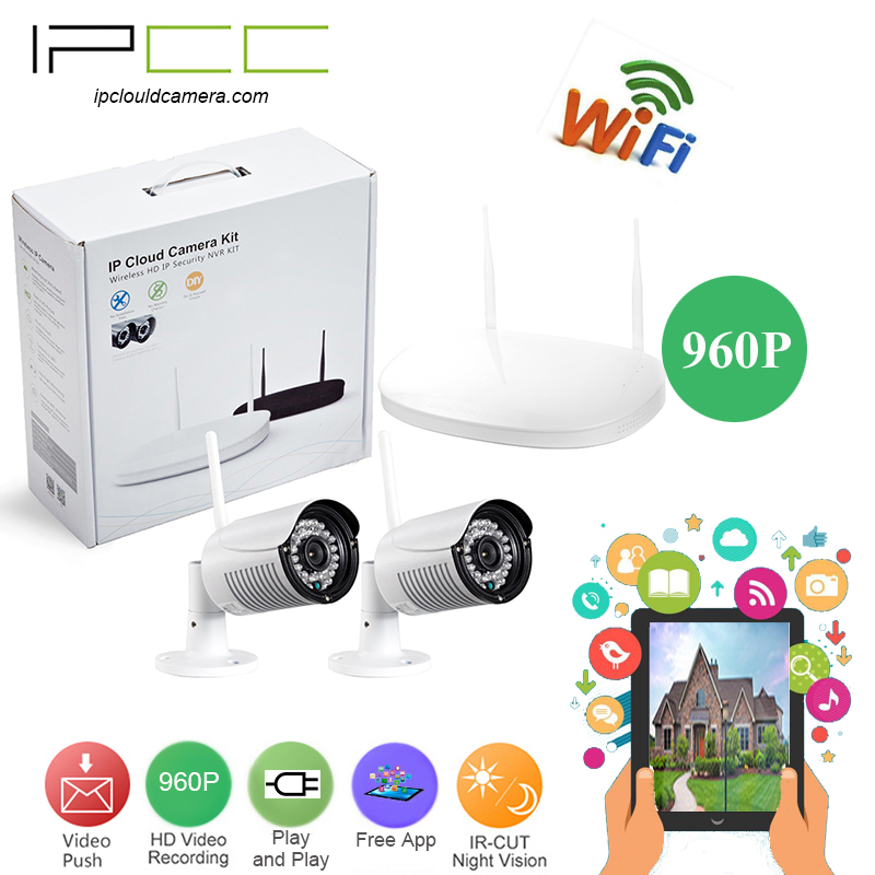 IPCC Home 2CH CCTV Security System 2 channel 960P NVR kit 960P 1.3MP outdoor bullet wifi ip Camera kit Video Surveillance System