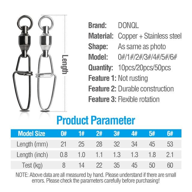 DONQL 10/20/50 pièces Interlock Snap pêche pivots connecteur 0 #-6 # fort roulement à billes pivotant broche lien accessoires de pêche