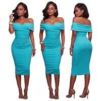Nouveau jolie image chaude femmes sexy dress slash cou paquet slim bandage dress d'été élégant dress 3024